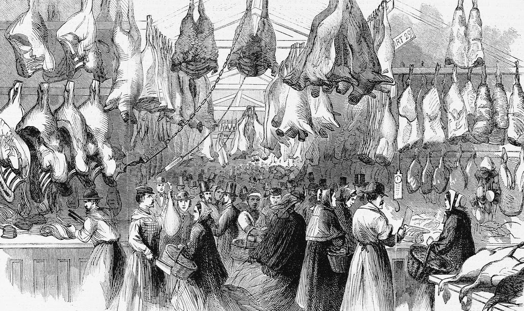 Detail of Christmas-Beef and Mutton in Washington Market, New York, 1865 by Corbis