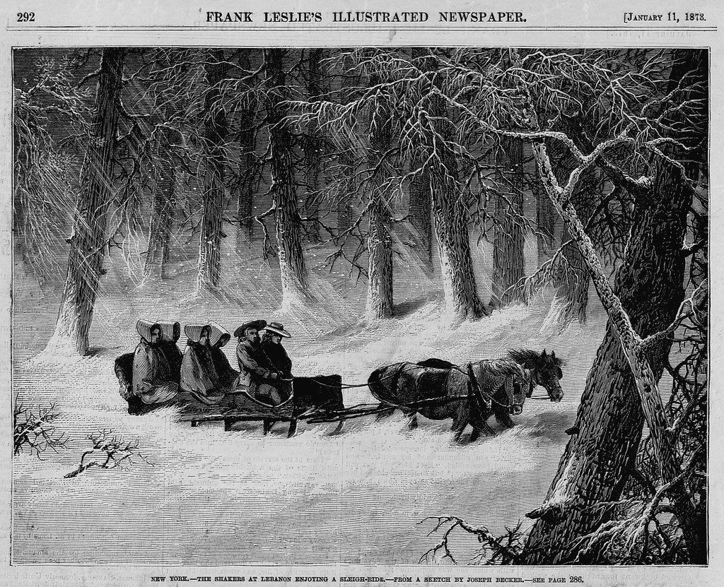 Detail of New York - The Shakers at Lebanon Enjoying A Sleigh Ride by Corbis