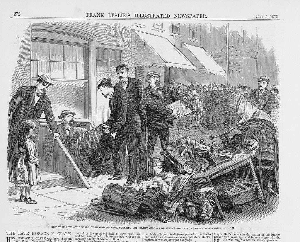 Detail of Newspaper Illustration Depicting New York City: The Board of Health at Work Clearing Out Filthy Cellars of Tenement Houses in Cherry Street by Corbis