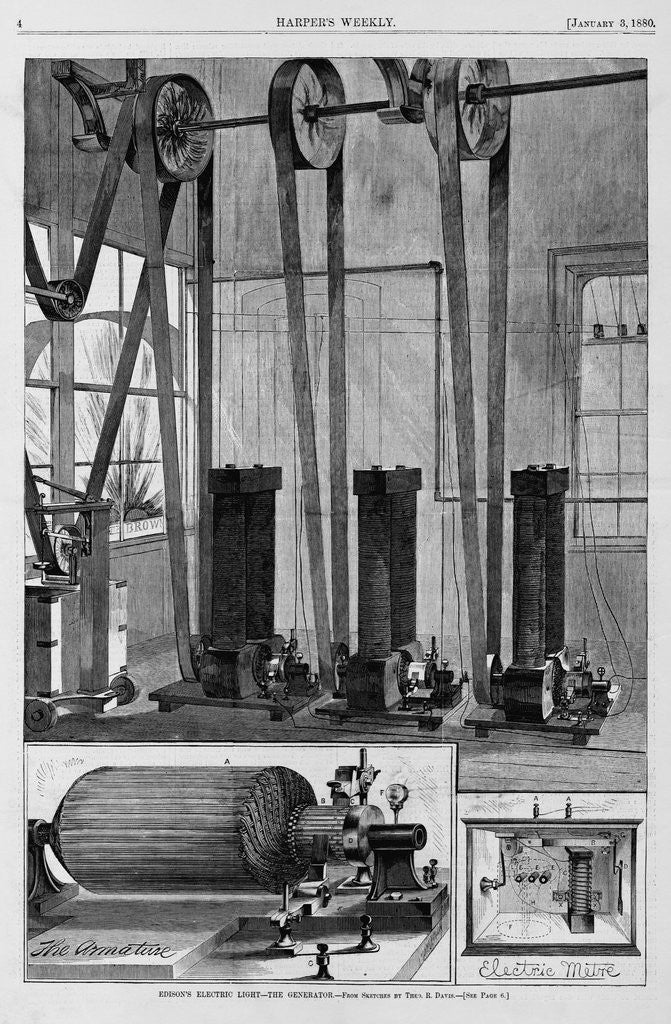 Detail of Edison's Electic Light - The Generator by Theo. R. Davis