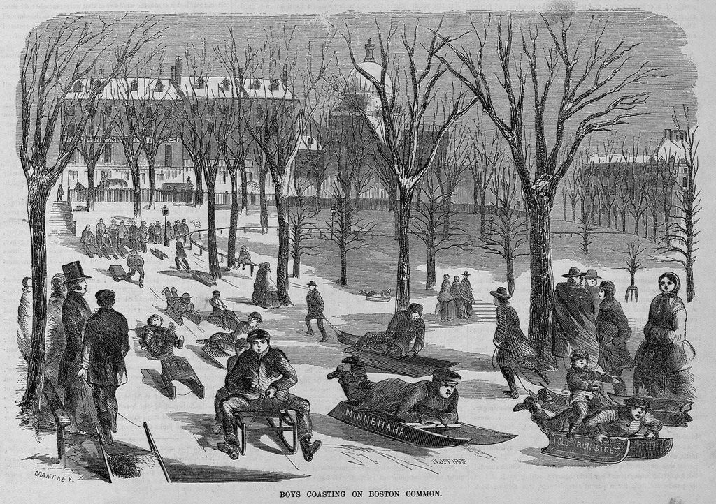 Detail of Boys Coasting on Boston Common Illustration by Corbis