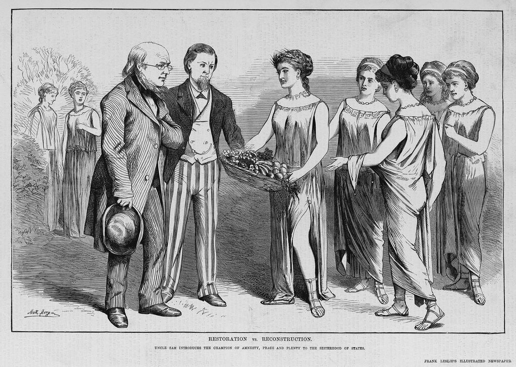 Detail of Restoration vs. Reconstruction. Uncle Sam introduces the Champion of Amnesty, Peace and Plenty to the Sisterhood of States by Corbis