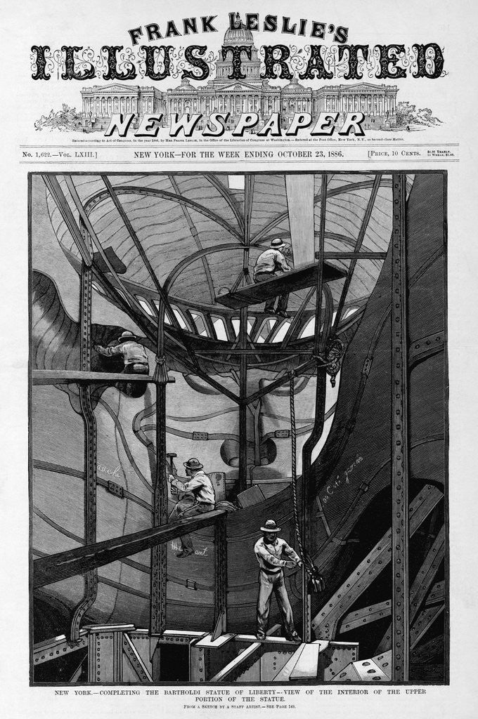 Detail of New York - Completing the Bartholdi Statue of Liberty - view of the interior of the upper portion of the statue. From a sketch by a staff artist. by Corbis