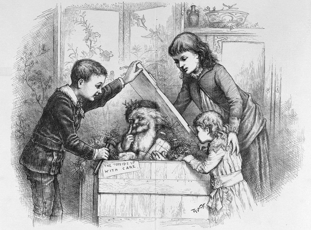 Detail of A Christmas Box Magazine Illustration by Thomas Nast