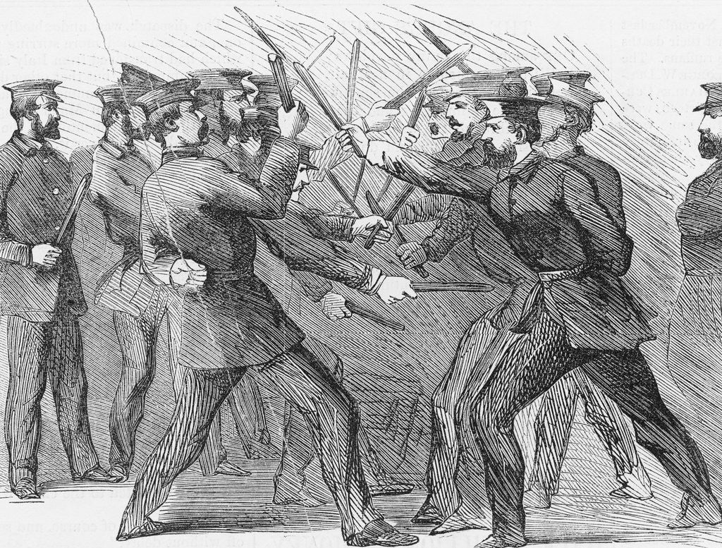 Detail of Illustration of Policemen Practicing Club Exercises by Corbis