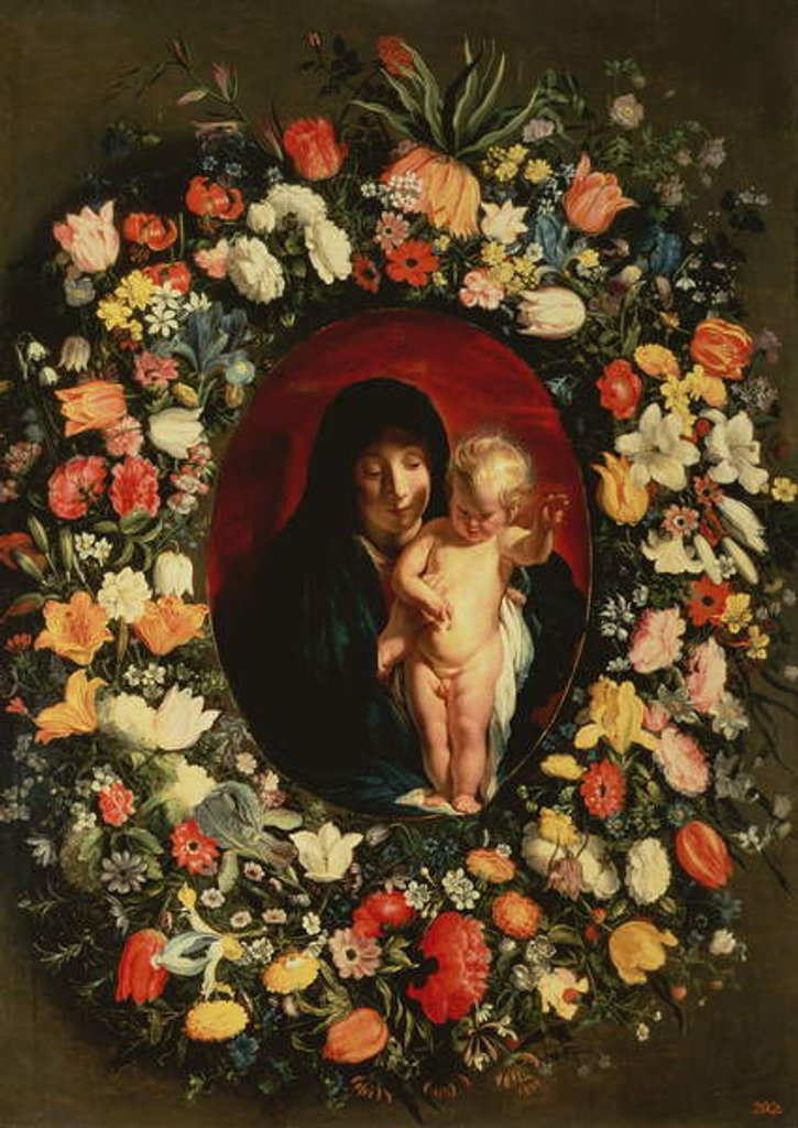 Detail of Madonna and Child wreathed with flowers, c.1618 by Jacob Jordaens