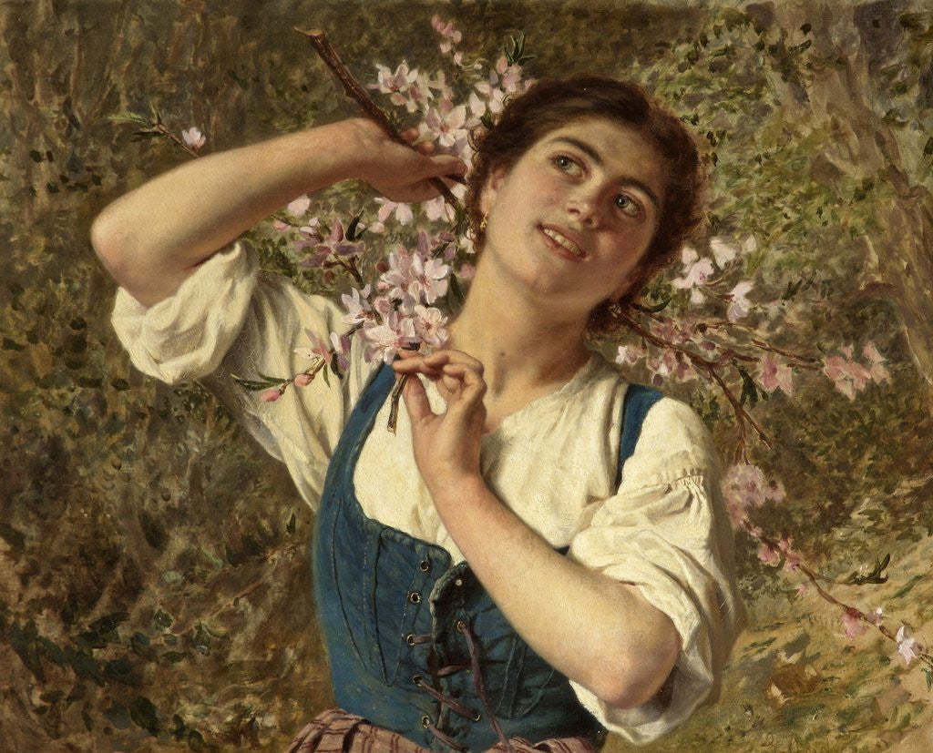 Detail of Capri Girl with Flowers by Sophie Anderson