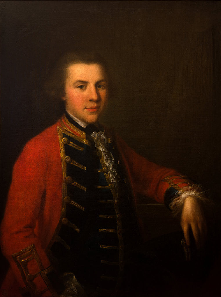 Detail of Portrait of a Young Officer in the Cheshire Militia, circa 1760 by Anonymous