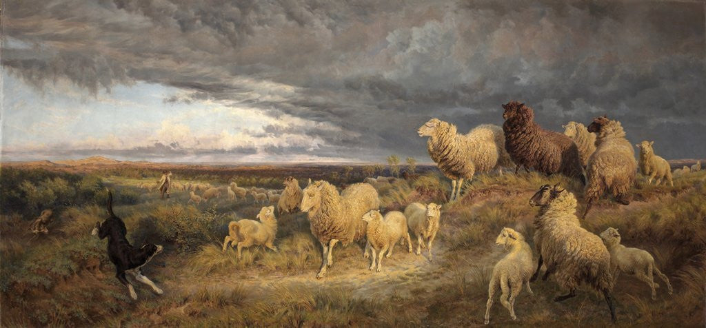 Detail of Approaching Thunderstorm, Flocks Driven Home, Picardy by Henry William Davis