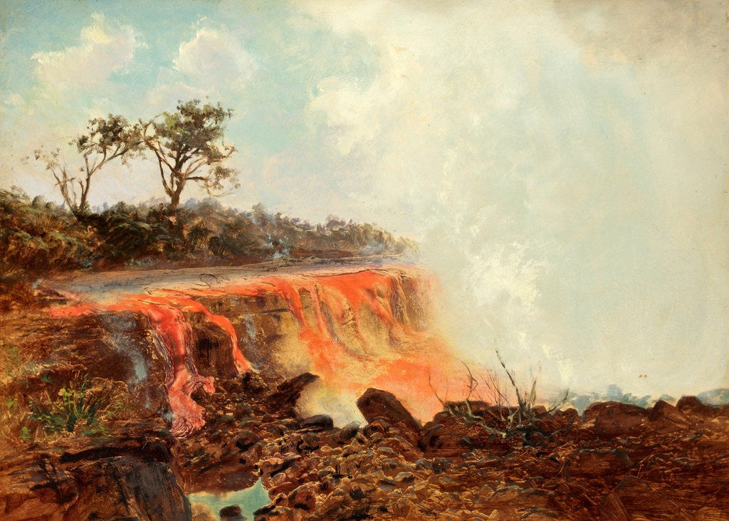 Detail of River of Lava Issuing from Mauna Loa and Flowing a Distance of About Thirty Miles to Hilo Across the Island of Hawaii 1880 - 1881 by Charles Ferneaux