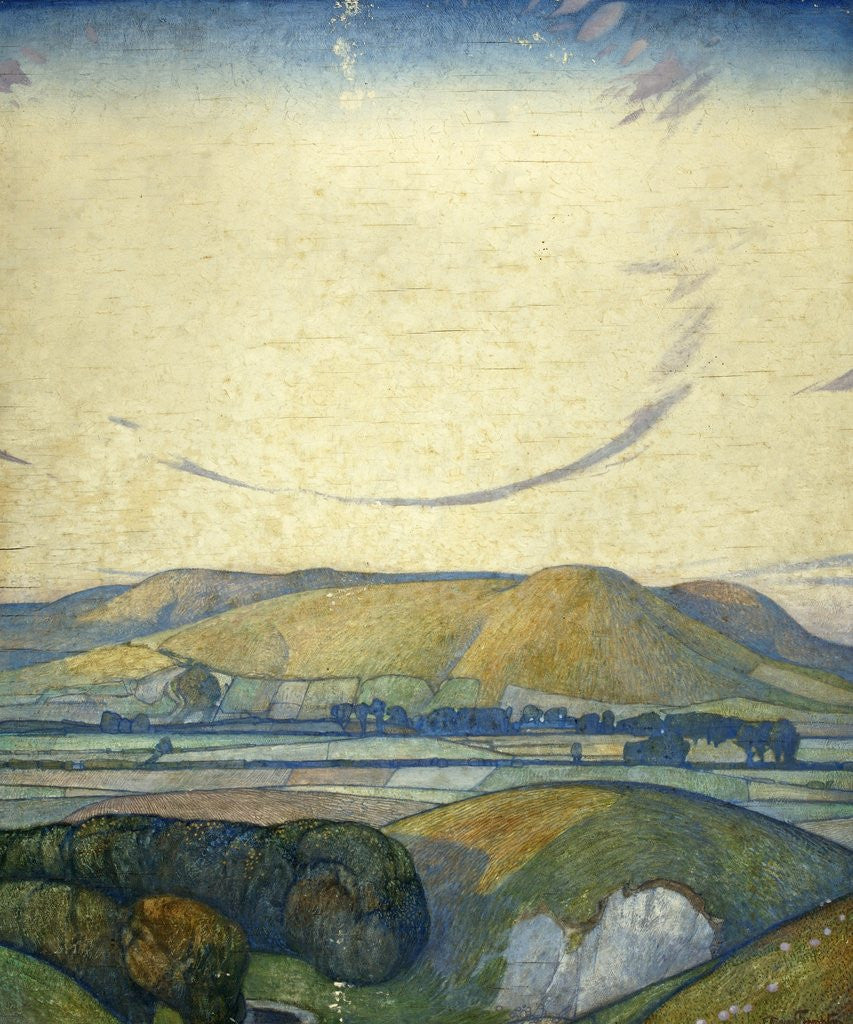 Detail of Sussex, Mount Caburn from Itford Hill by Edward Reginald Frampton