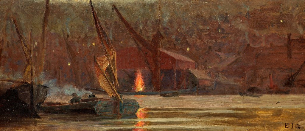 Detail of Night Scene on the Medway by Edward John Gregory