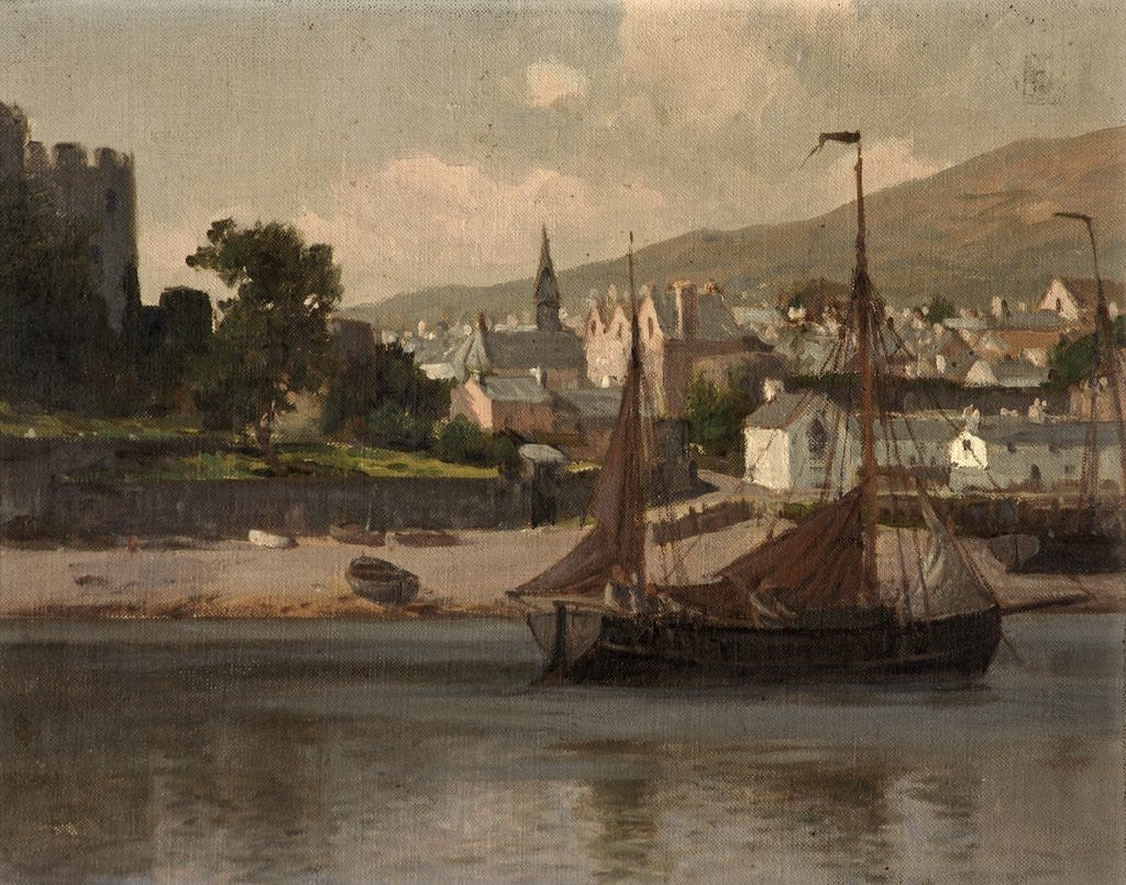 Detail of Castle, River and Barge by Lauritz Holst