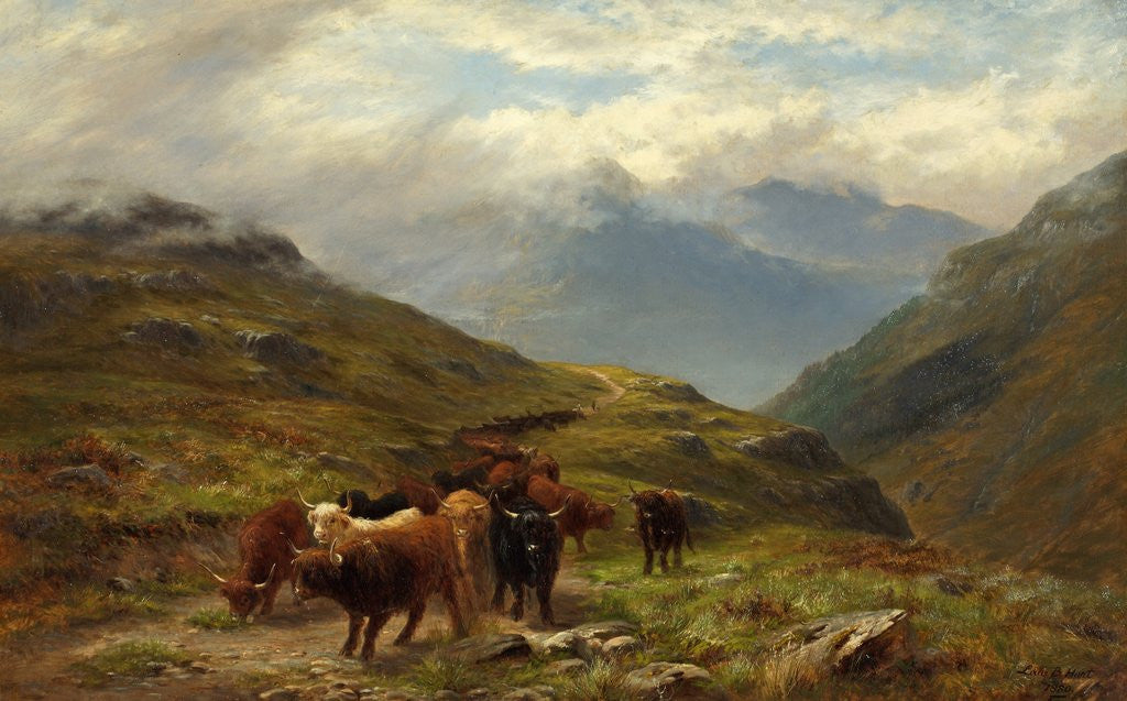 Detail of Highland Cattle - A Mountain Road, near Ballachulish, Argyll by Louis Bosworth Hurt