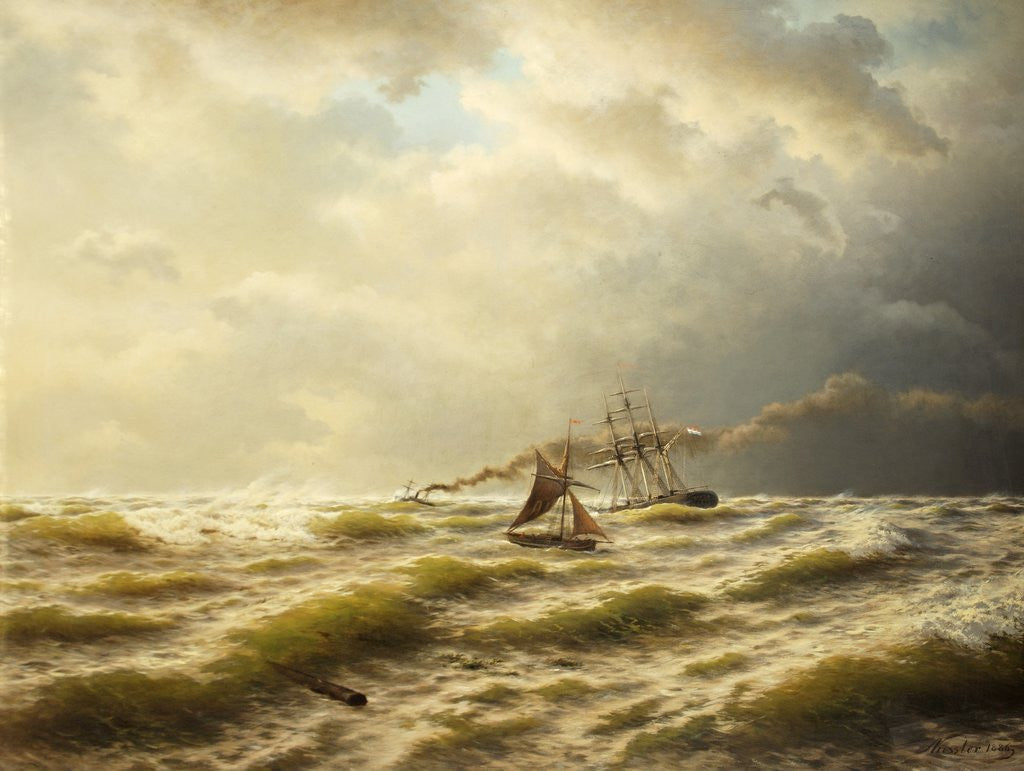 Detail of Seascape by August Friedrich Kessler