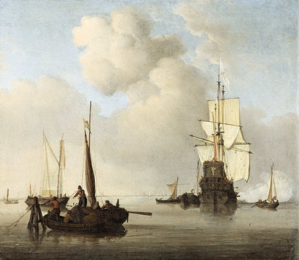 Detail of Shipping in a Calm by Willem Van de Velde the Younger