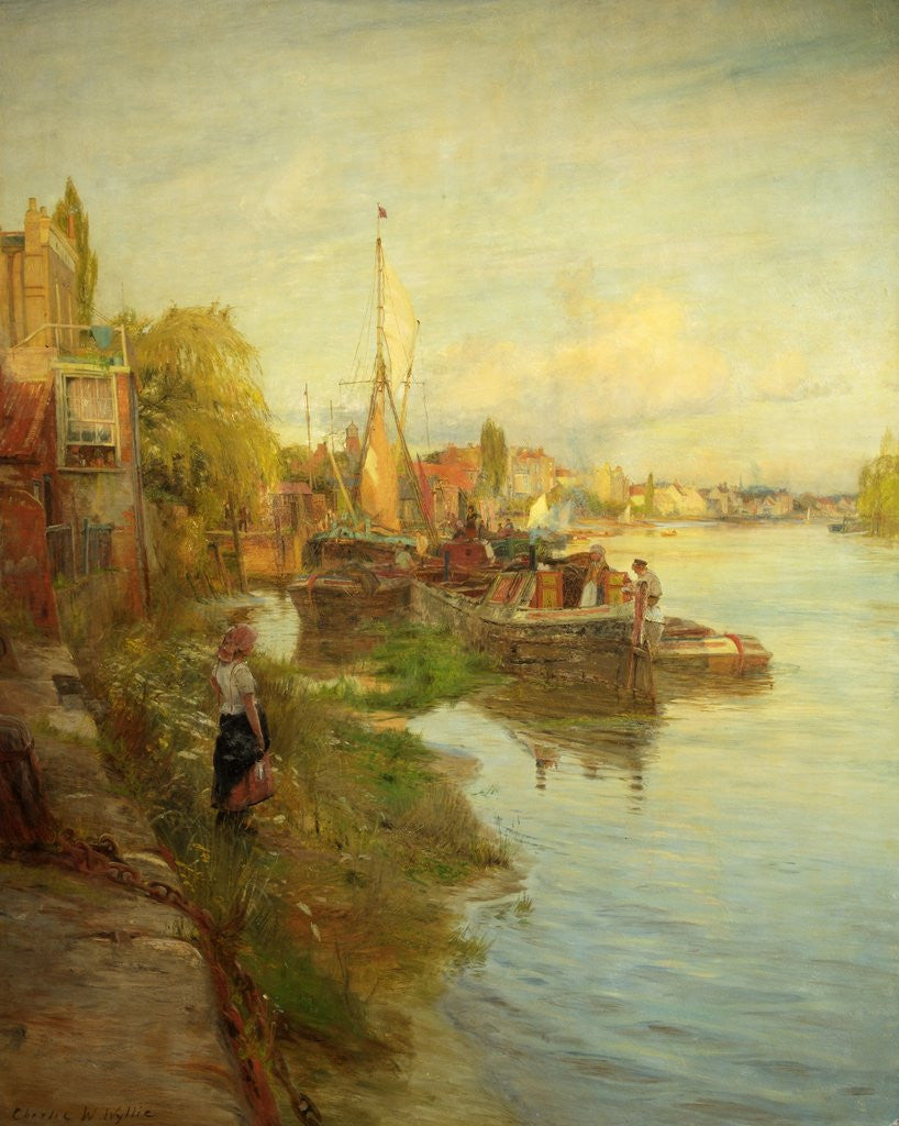 Detail of Barges on the Thames by Charles W. Wyllie