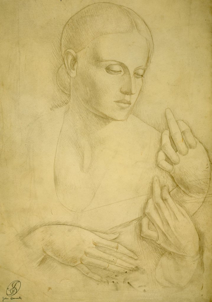 Detail of Woman with Guitar, Study by John Downton
