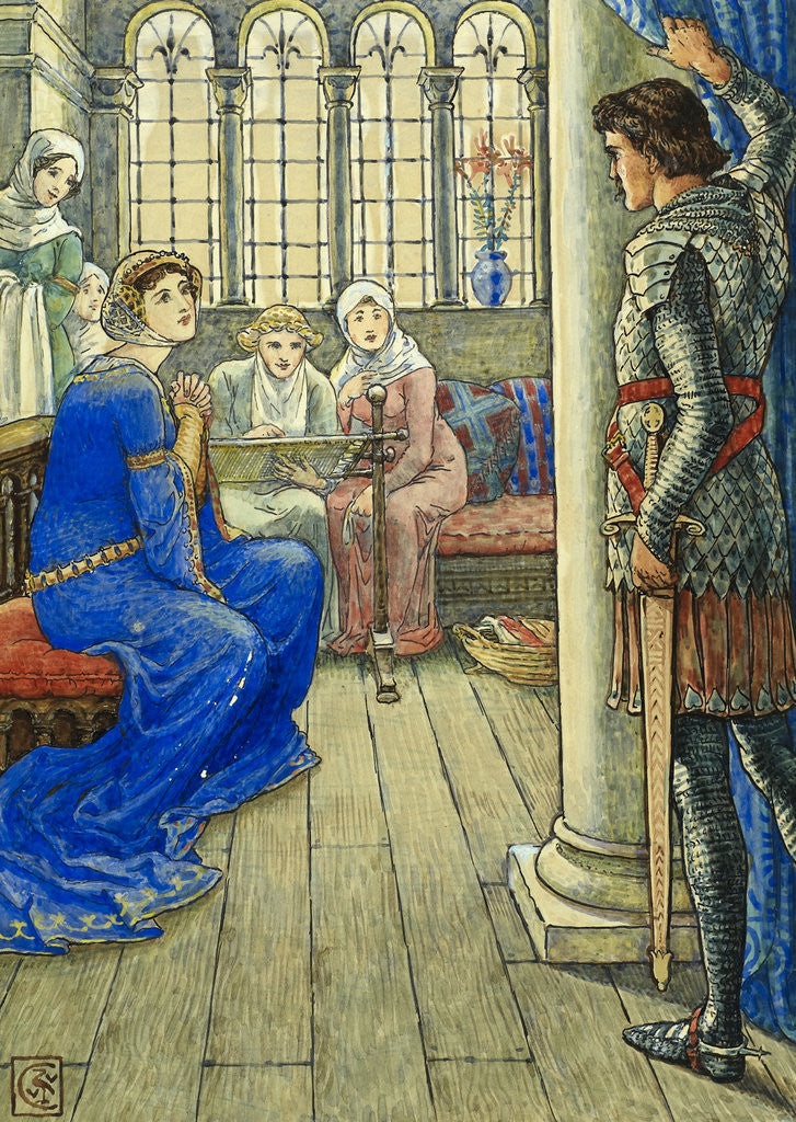 Sir Owen greets the Lady of the Fountain by Walter Crane