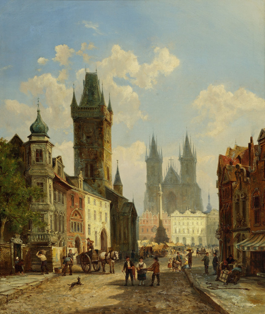 Detail of Market Place Prague by Pieter Cornelis Dommershuijzen