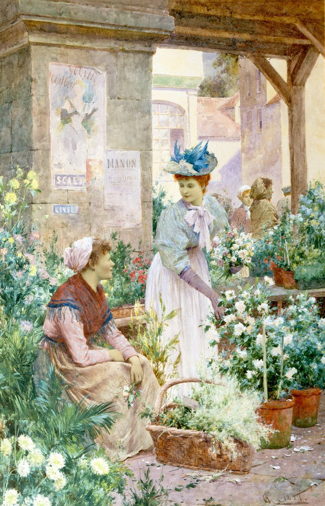 Detail of The Flower Market, Boulogne by Alfred Glendening Jnr