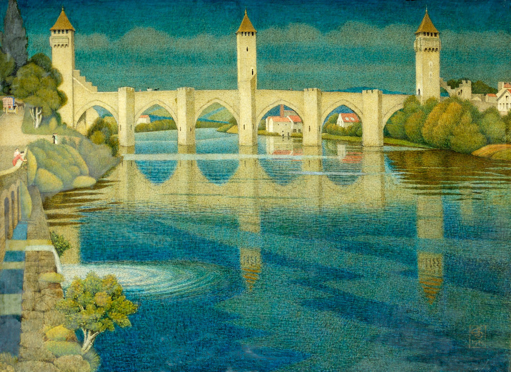 Detail of The Great Bridge at Cahors by Joseph Edward Southall