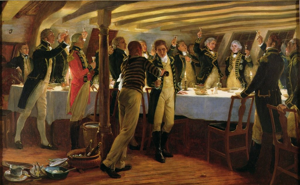 Detail of Admiral Nelson raising a toast to victory with his fellow officers the night before the Battle of Copenhagen by Thomas Davidson