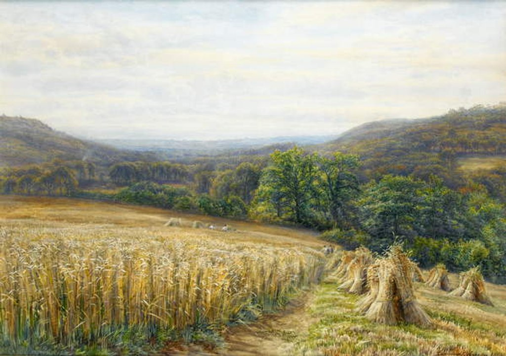 Detail of Harvest Time near Ashburton, 1884 by Edmund George Warren