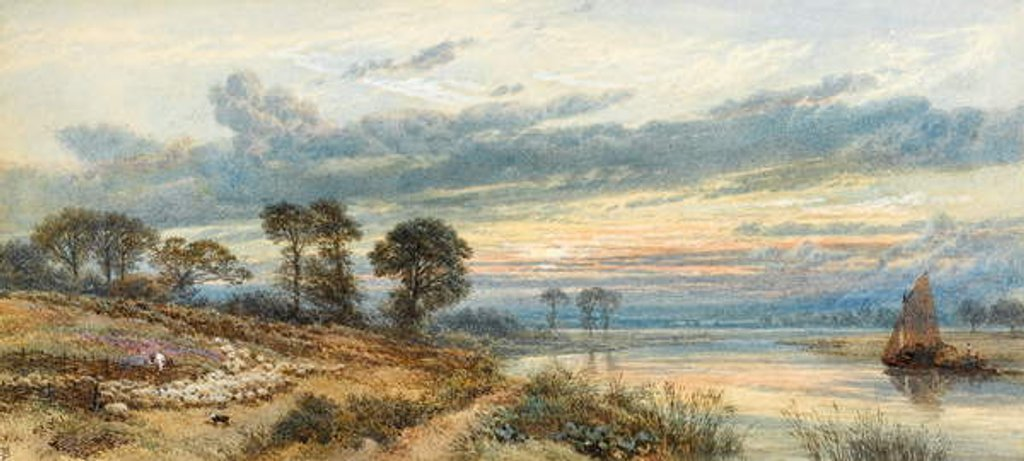 Detail of Sunset over the River by Myles Birket Foster