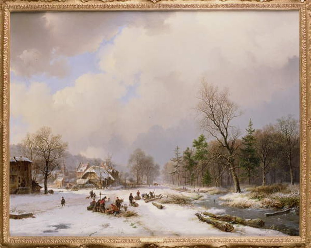 Detail of Winter Scene by Barend Cornelis Koekkoek