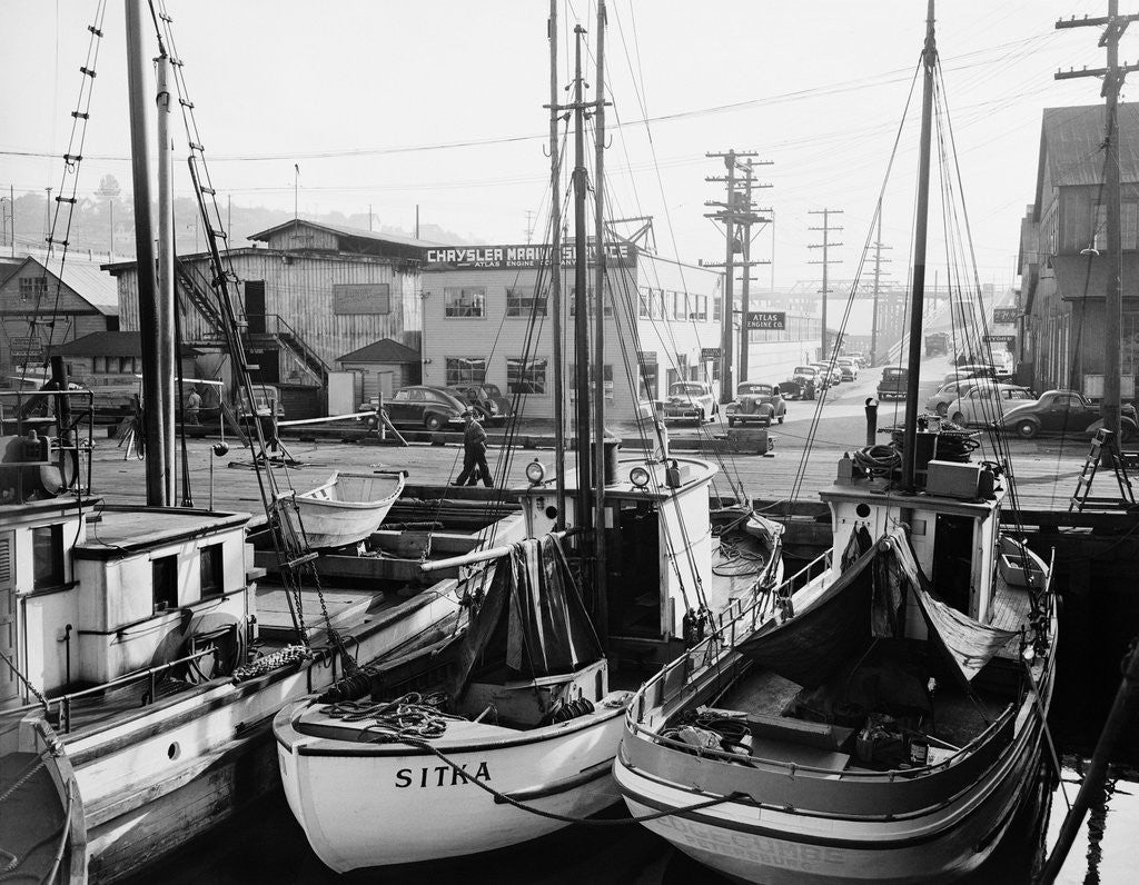 Fishing Boat Sitka And Others Moored At Seattle Docks