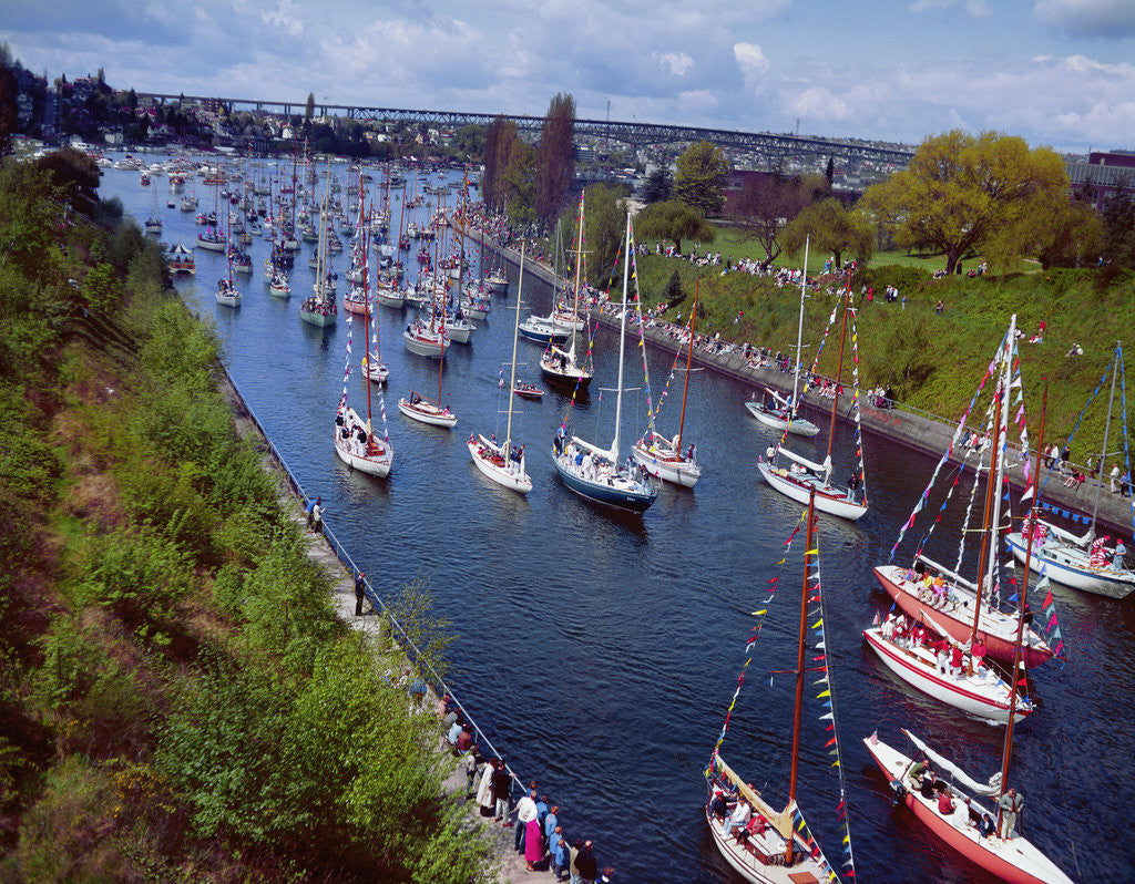 Detail of Sailboats in Opening Day Yacht Parade by Corbis