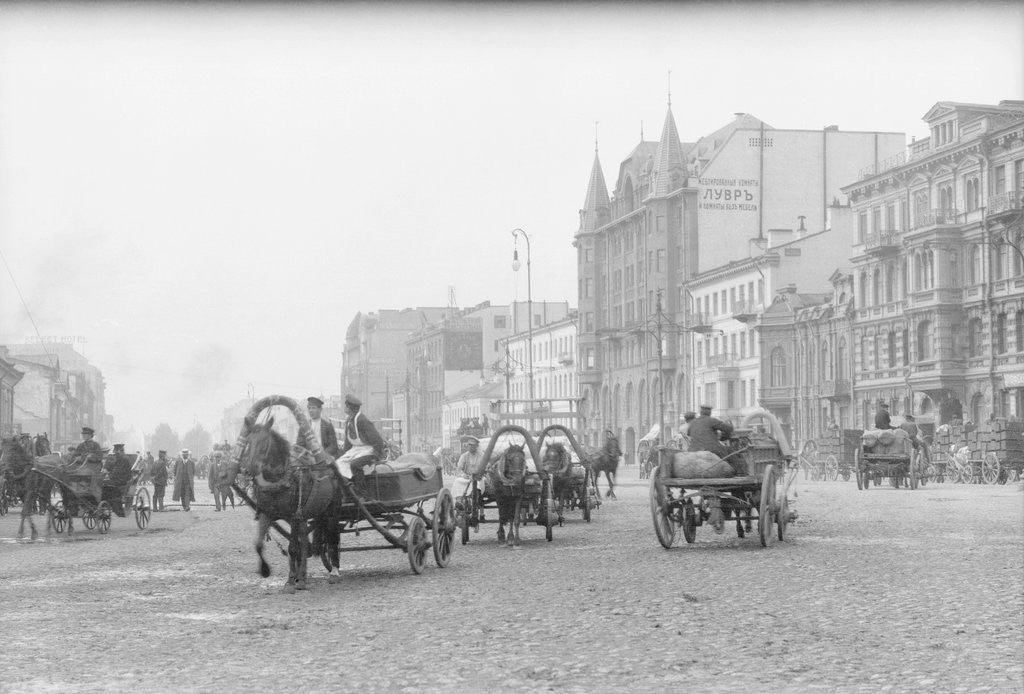 Detail of Horse Carts on Nevsky Prospect by Corbis
