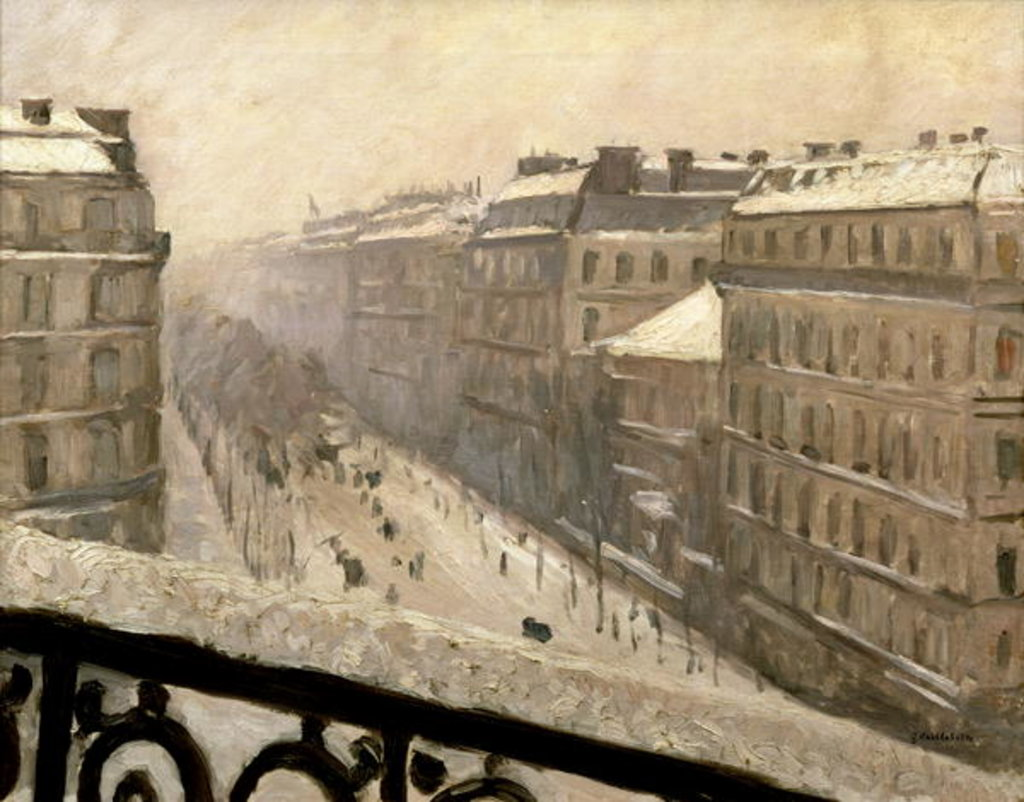 Detail of Boulevard Haussmann in the Snow, 1879 or 1881 by Gustave Caillebotte