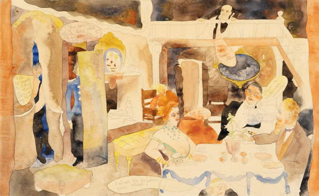 Detail of Lulu and Alva Schoen at Lunch, 1918 by Charles Demuth