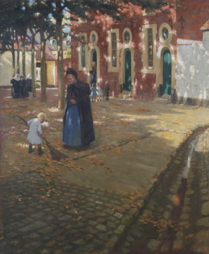 Detail of Sunshine in the Beguinage by Norman Garstin
