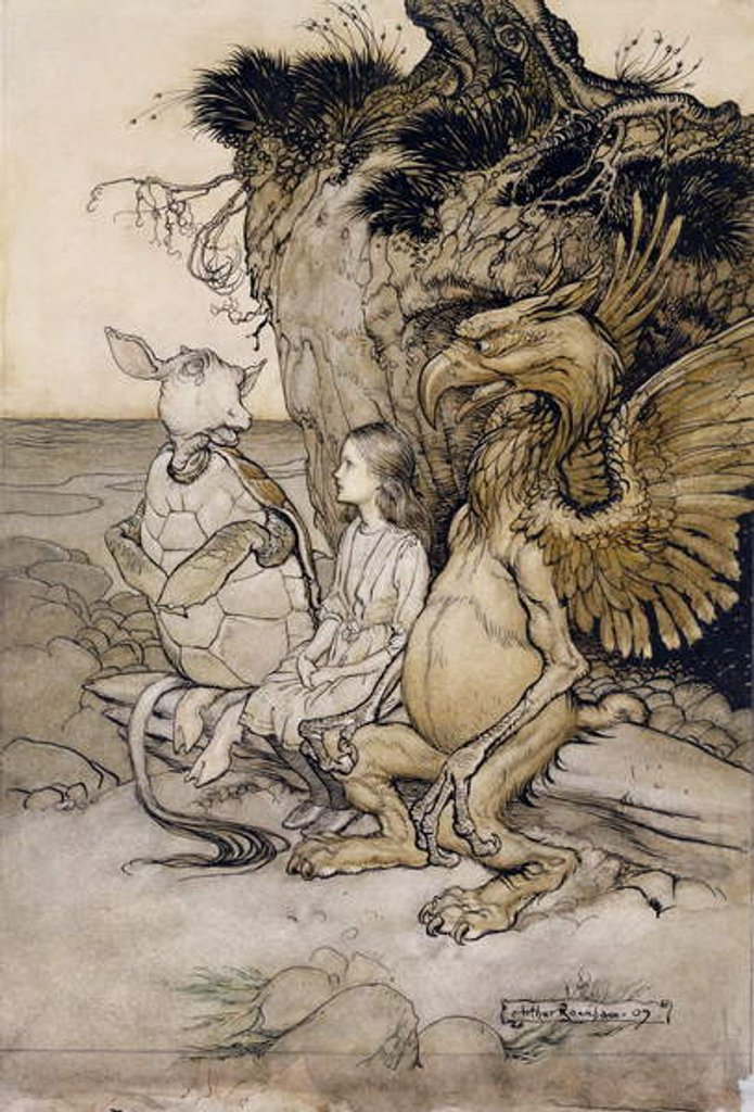 Detail of Alice and the Mock Turtle by Arthur Rackham