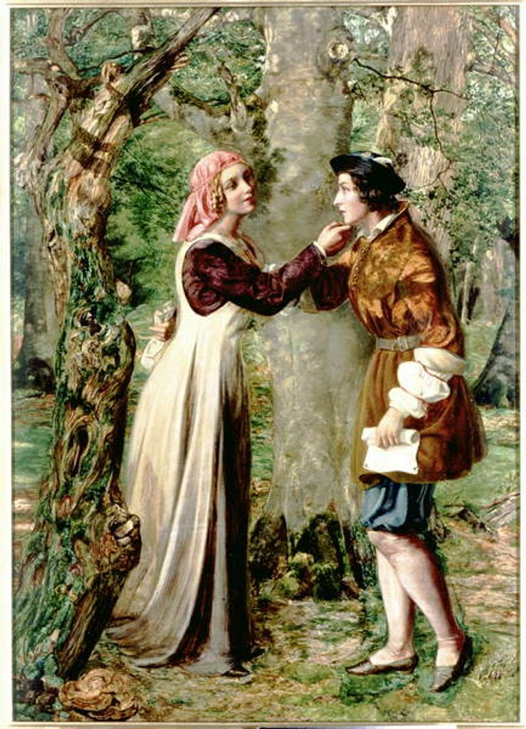 Detail of Celia Telling Rosalind that Orlando is in the Forest by Edward Rainford
