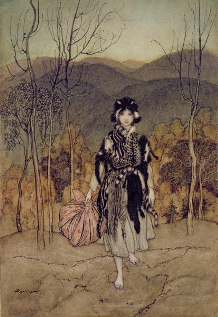 Detail of 'She Went Along, and Went Along, and Went Along Catskin' by Arthur Rackham
