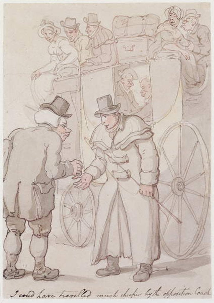 Detail of I could have travelled much cheaper by the opposition coach by Thomas Rowlandson
