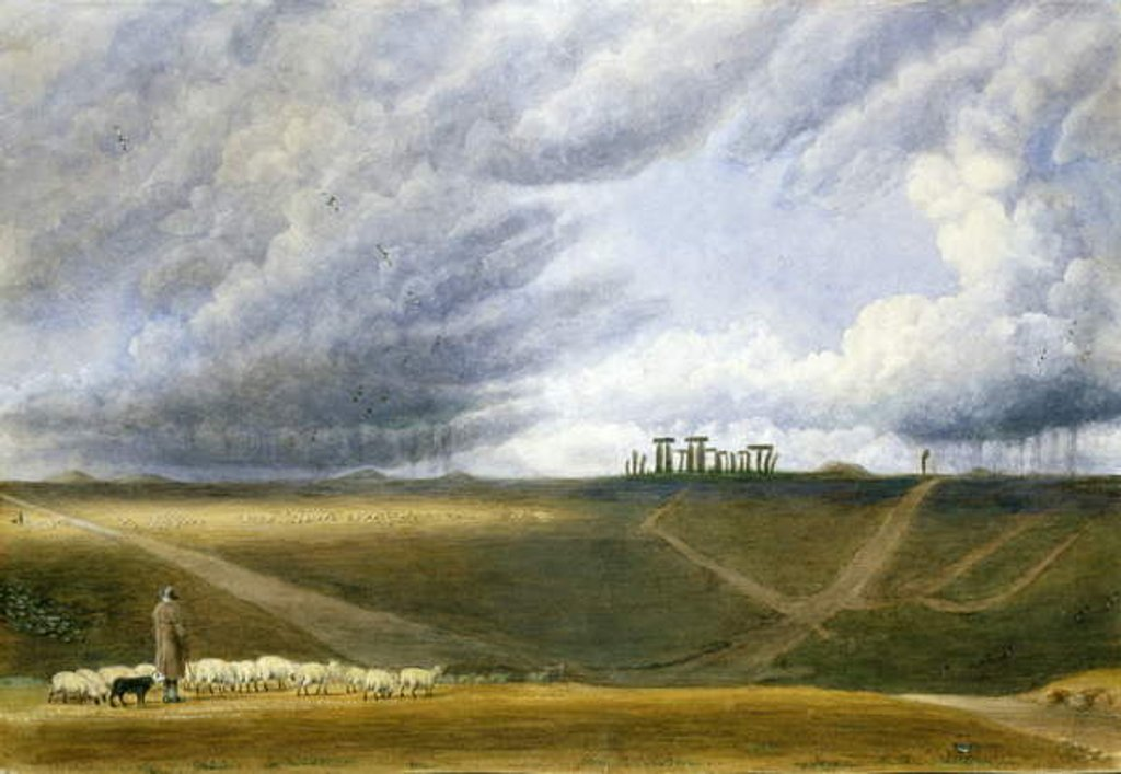 Detail of Sheep Grazing at Stonehenge by William Turner