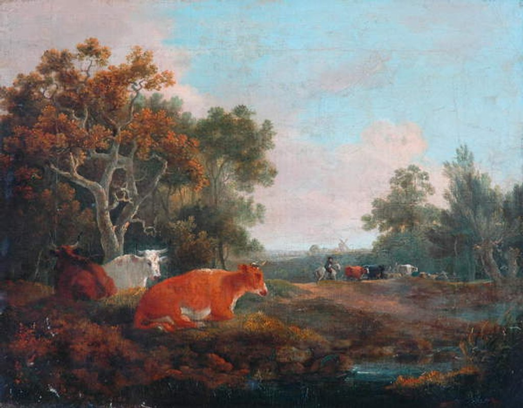 Detail of Landscape with Cattle by William Collins