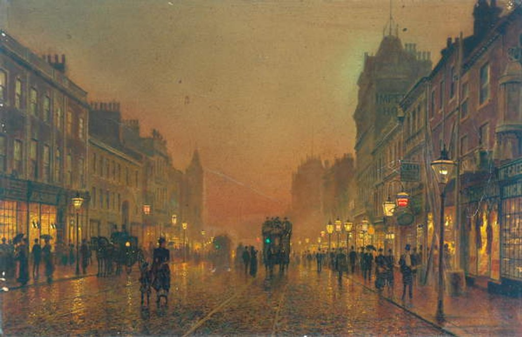 Detail of Briggate, Leeds, 1891 by John Atkinson Grimshaw