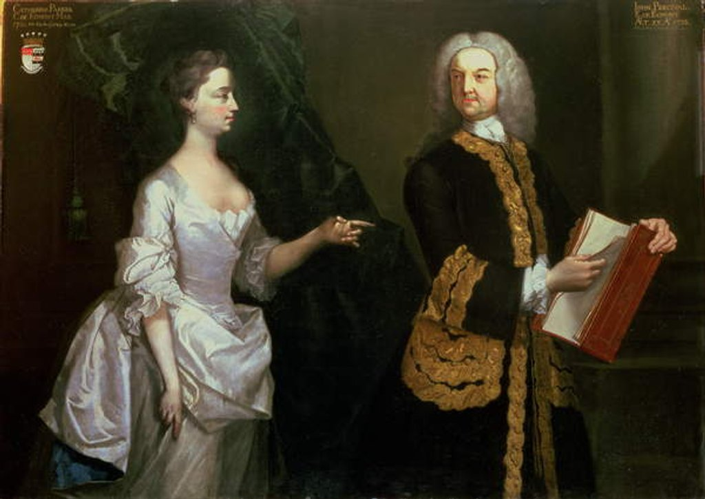 Detail of A Group Portrait of John Perceval, 1st Earl of Egmont and his Wife Catherine by J. Alberry