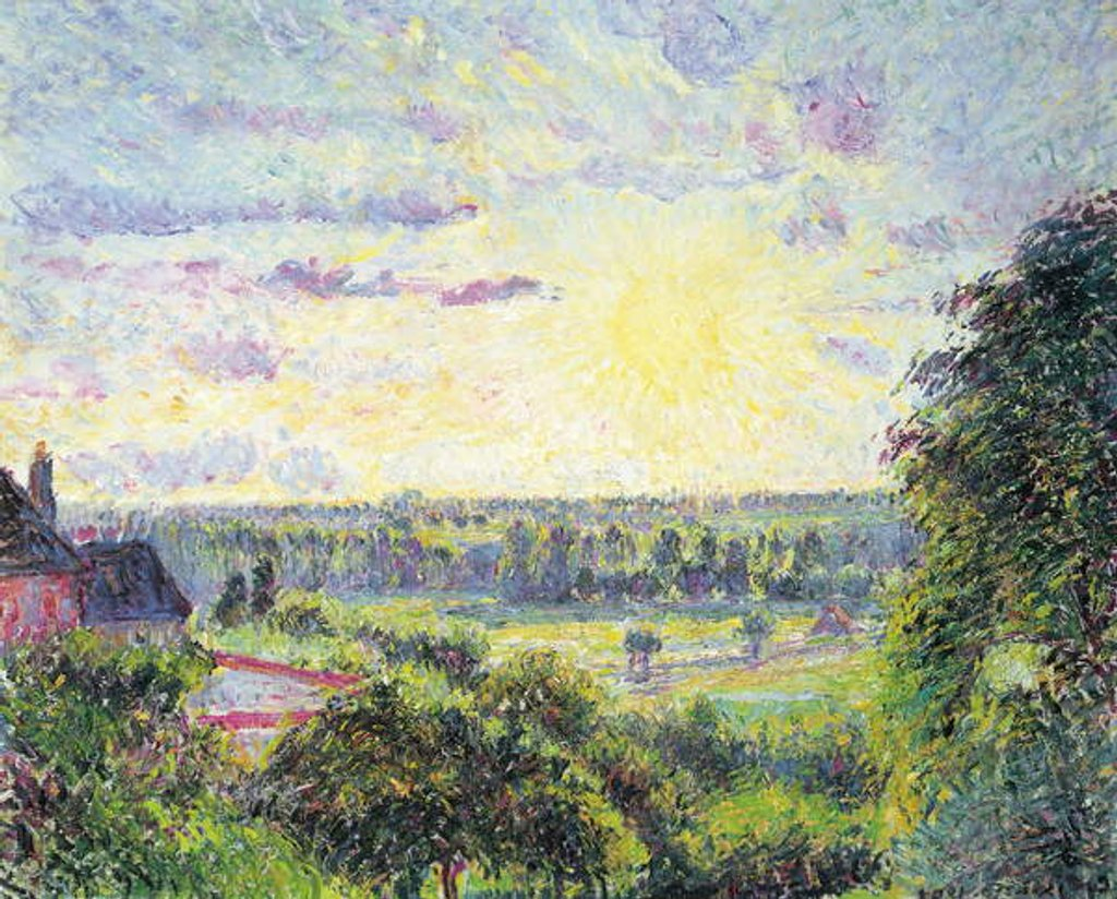 Detail of Sunset at Eragny, 1891 by Camille Pissarro