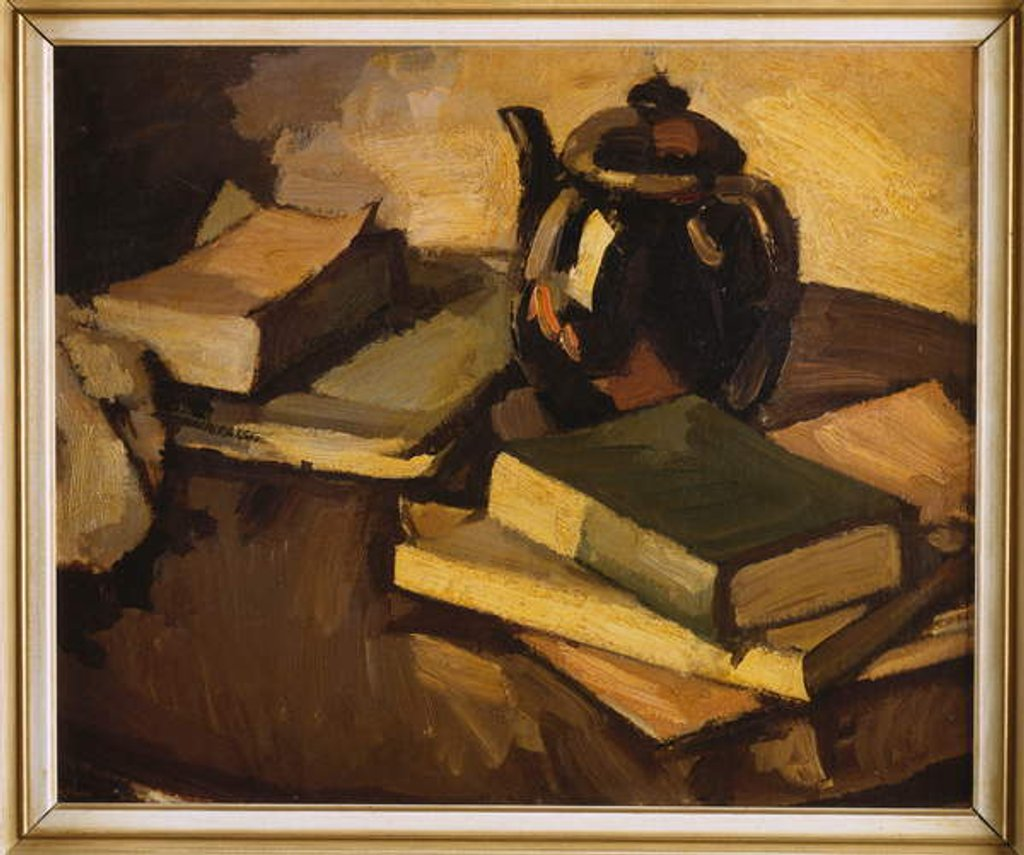 Detail of A Still Life with a Teapot and Books on a Table, c.1926 by Samuel John Peploe