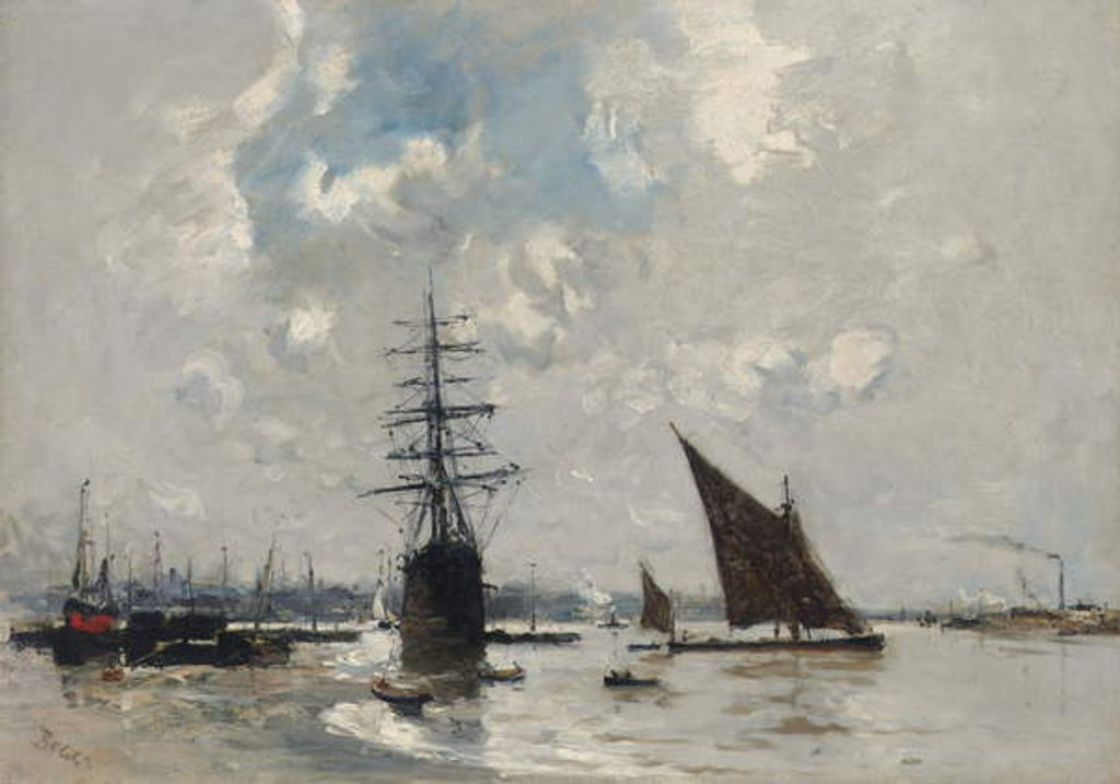 Detail of Ships on the Thames by Frank Myers Boggs