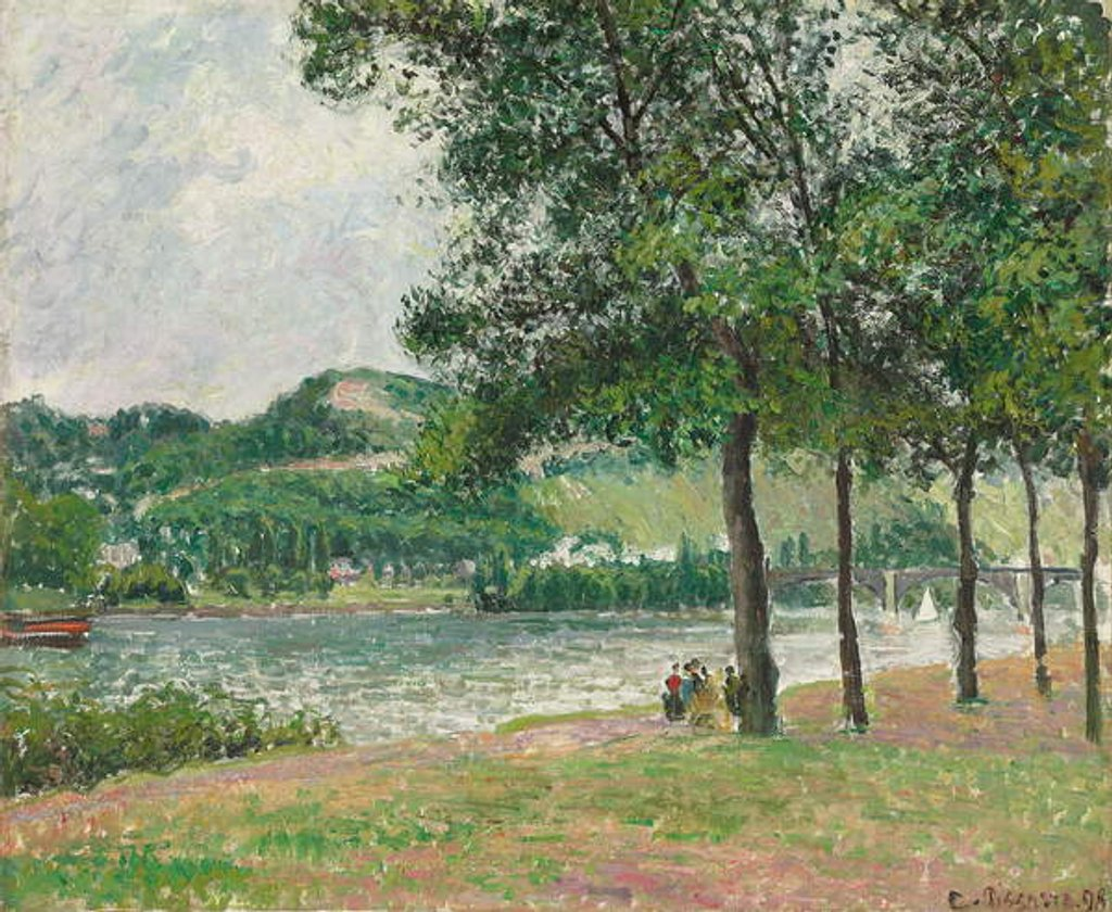 Detail of The Cours-la-Reine at Rouen, Overcast by Camille Pissarro