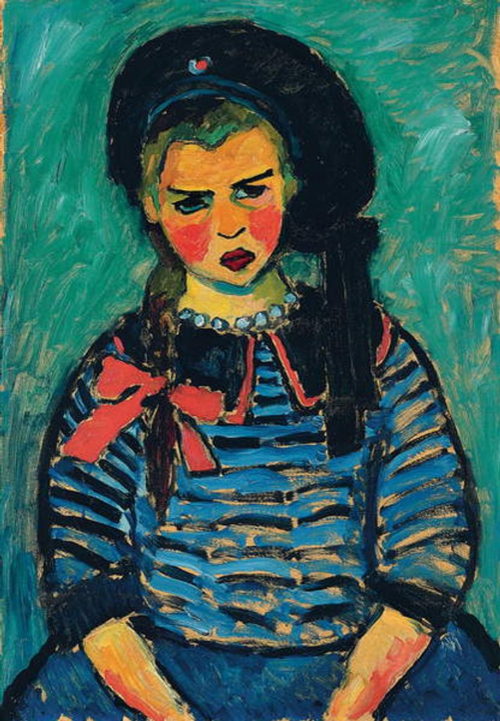 Detail of Girl with a Red Bow by Alexej von Jawlensky