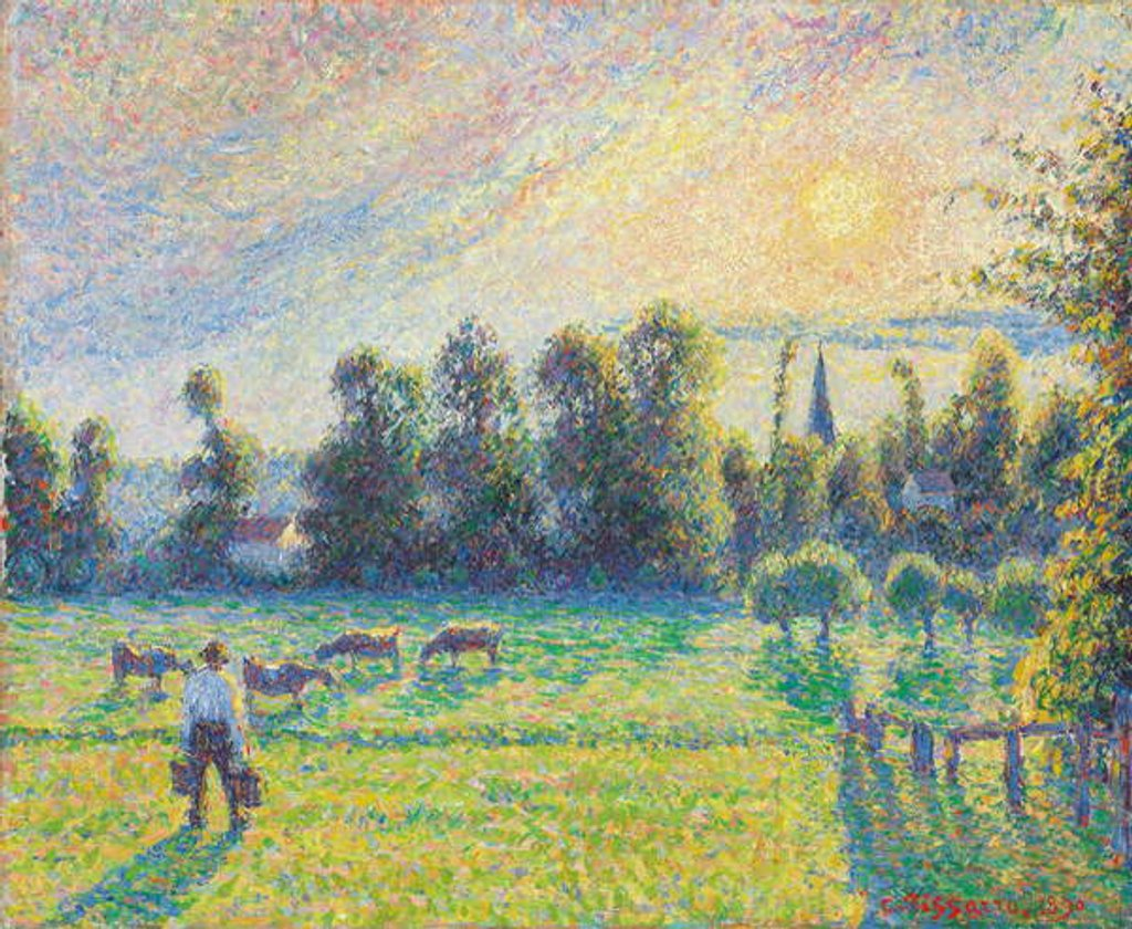 Detail of Pasture, Sunset, Eragny by Camille Pissarro